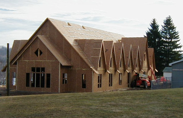 SIPs for timber frame ASPCA Building, Broadline Construction, Montrose, PA, 2002