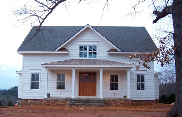 Front view, structural SIPs for residential project, Macfarlane Homes, Charlottesville, VA, 2007