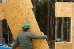 Installing a SIP in addition for timber frame vacation home, Milbridge, ME, 2008